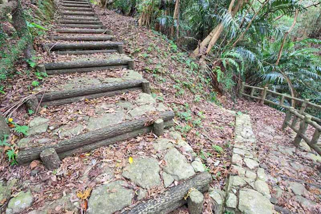 stairway, trail, stone, imitation logs, forest