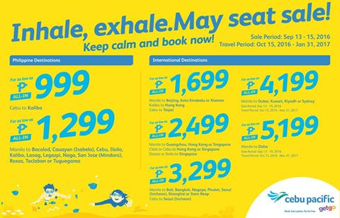 Cebu Pacific Seat Sale Promo September 2016