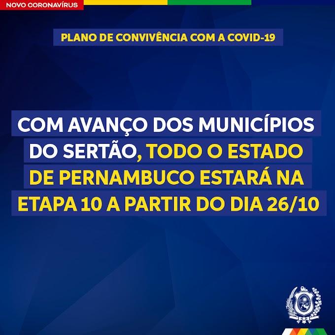 Todo o estado de Pernambuco avança para a Etapa 10 a partir desta segunda (26); veja o que muda!