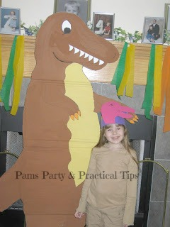 Cardboard T Rex and Craft Foam Dinosaur Hat
