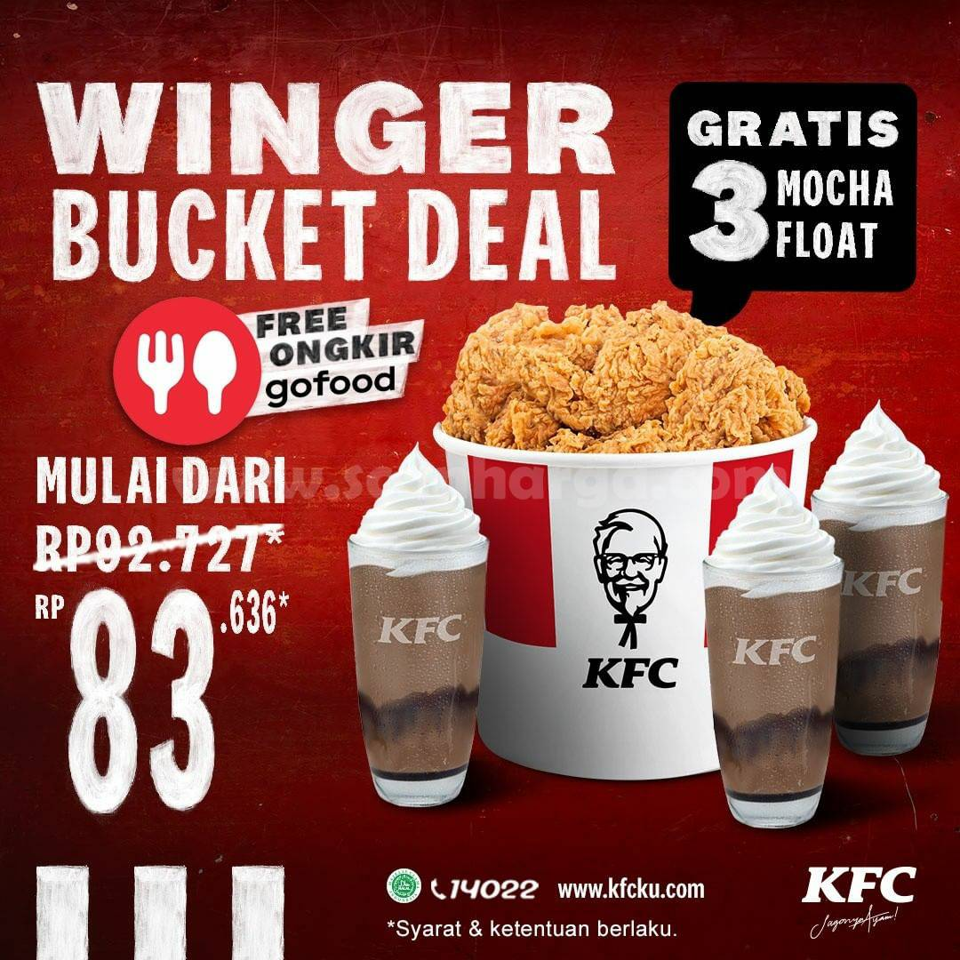 KFC Promo WINGER BUCKET DEAL - Gratis 3 Winger + FREE Ongkir GOFOOD