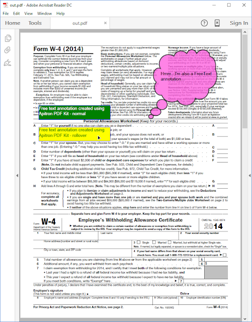 Pic. 1 PDF document with Free Text annotations added using Apitron PDF Kit
