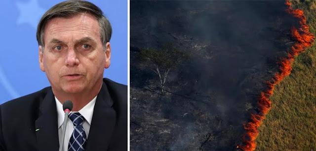 Sem provas, Bolsonaro acusa ONGs e governadores de queimarem a Amazônia para atingir o governo