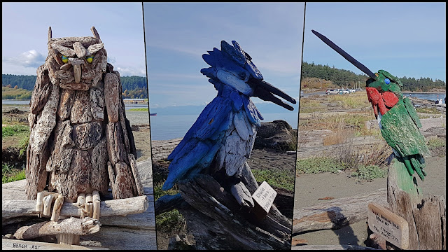 Three of artist Paul Lewis' collection of driftwood sculptures...