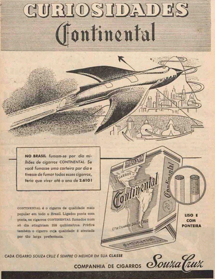 Propaganda antiga dos Cigarros Continental veiculada em 1951