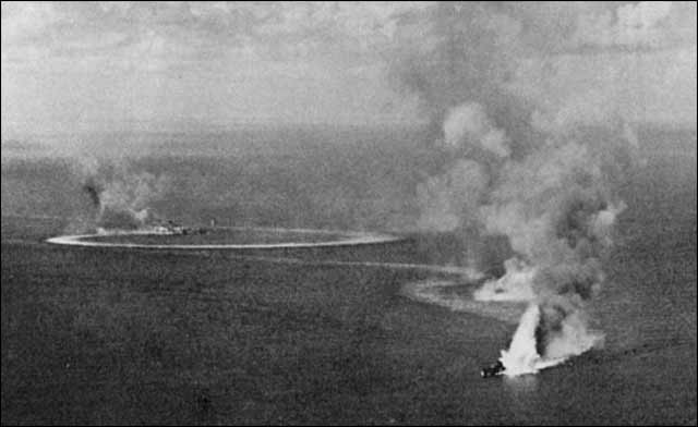 Royal Navy cruisers Dorsetshire and Cornwall before being sunk on 5 April 1942. worldwartwo.filmnispector.cmo