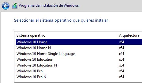 Windows 10 Pro se instala como Home