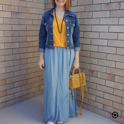 awayfromblue Instagram | mum style park playdate winter double denim mustard tee and micro regan bag
