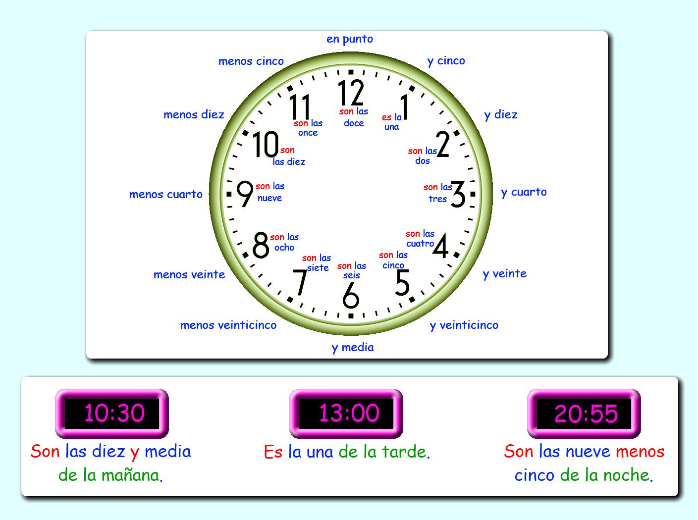 Me Encanta Escribir En Espanol Que Hora Es