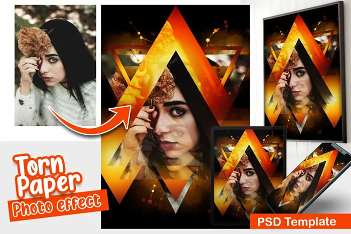 Triangle Art PSD Photo Template