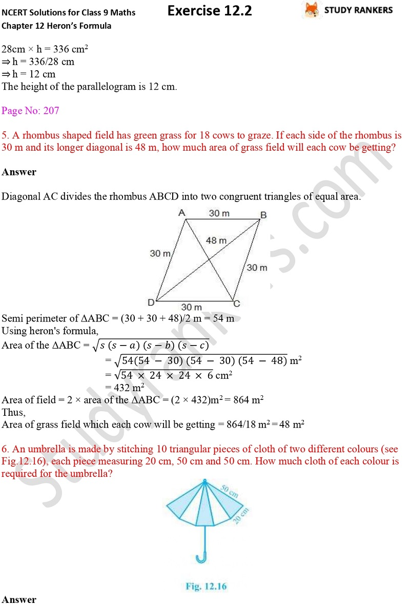 NCERT Solutions for Class 9 Maths Chapter 12 Heron's Formula Exercise 12.2 Part 4