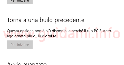 Windows 10 opzione torna build precedente non più disponibile