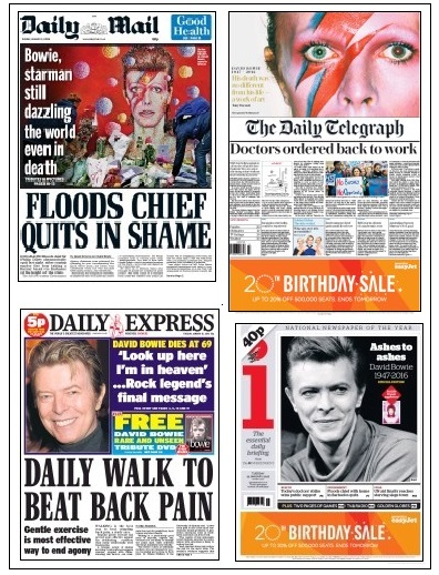 Bowie front pages