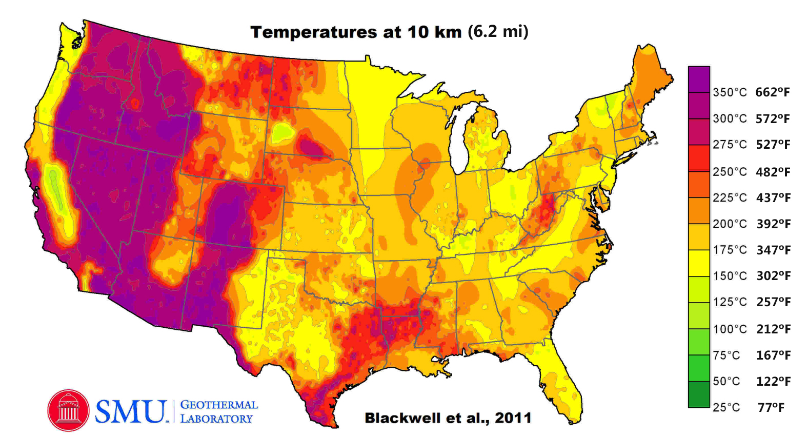 United States: Temperatures at the depth of 10 km