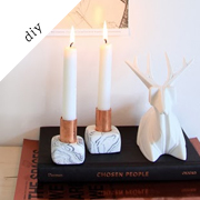 Copper and marble candleholder diy