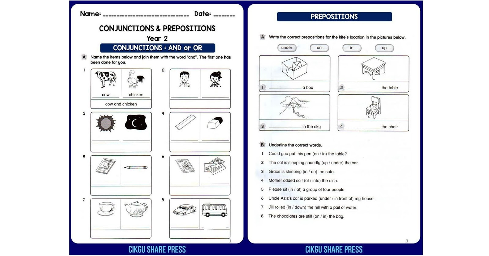 Conjunctions Amp Prepositions Worksheets