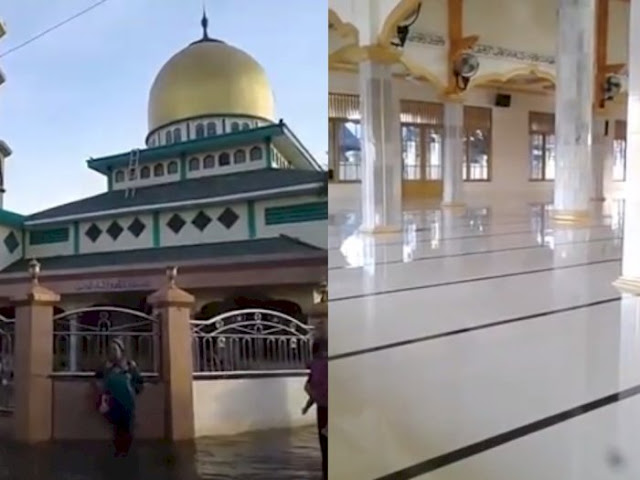 Masya Allah! Banjir Melanda Kalimantan Selatan, Masjid Ini Tetap Kering