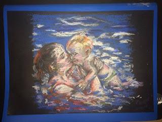 peinture d'une bébé à la piscine, pastel de Karine Babel