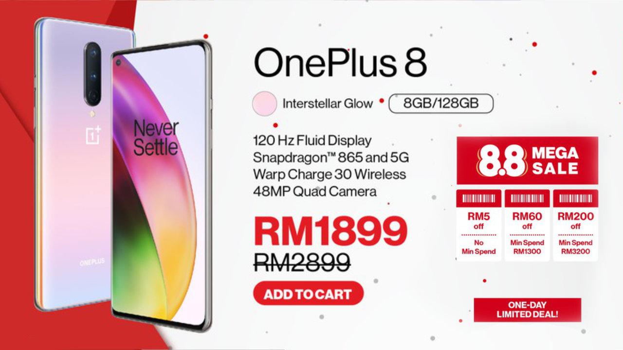 OnePlus menawarkan diskaun sehingga RM1000 sempena 8.8 Mega Sales