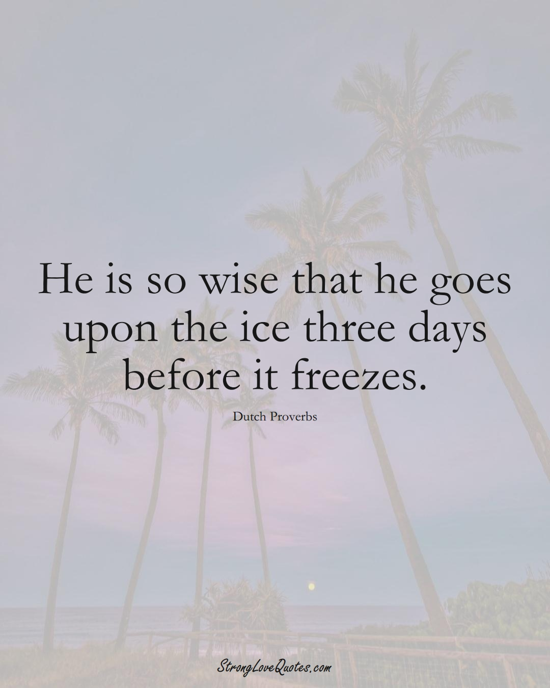 He is so wise that he goes upon the ice three days before it freezes. (Dutch Sayings);  #EuropeanSayings