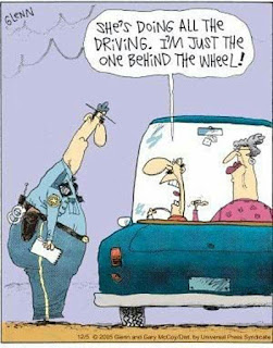 Funny driving couple joke cartoon picture