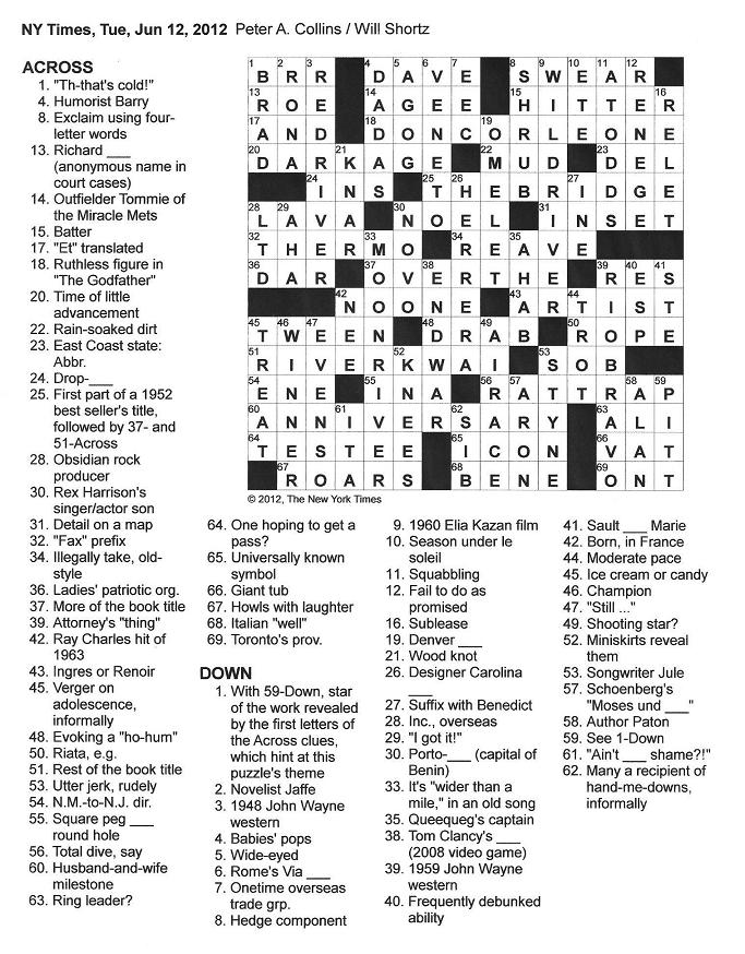 The New York Times Crossword in Gothic: 06.12.12 — A River ...