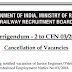 RRB JE CEN 03/2018 Official Notice For Cancellation of Vacancies