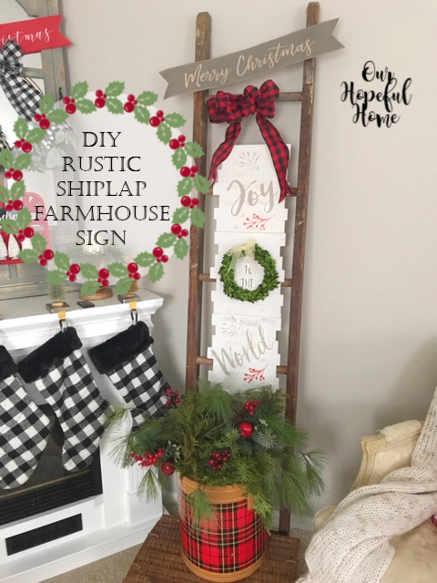 Joy to the World decal shiplap sign