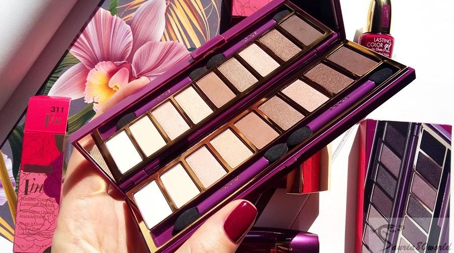 03b910e38ef38 Kolekcję otwierają cienie - cała paleta - paleta 9 odcieni w dwóch setach.  W fioletowej kasetce Rose Garden z lusterkiem zawarto cały przekrój beży