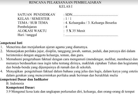 RPP Kurikulum 2013 Kelas 1 Revisi Tema 4 Sub Tema 3 Pembelajaran 4