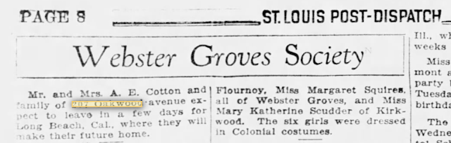 St. Louis Post-Dispatch Society pages mention of the upcoming move of Mr. and Mrs. A. E. Cotton from Webster Gvores to Long Beach, California