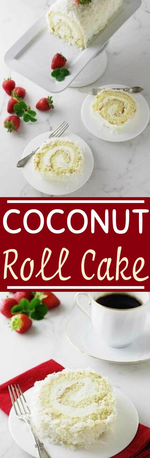 Coconut Cake Roll #cake #desserts #recipes #baking #rollcake