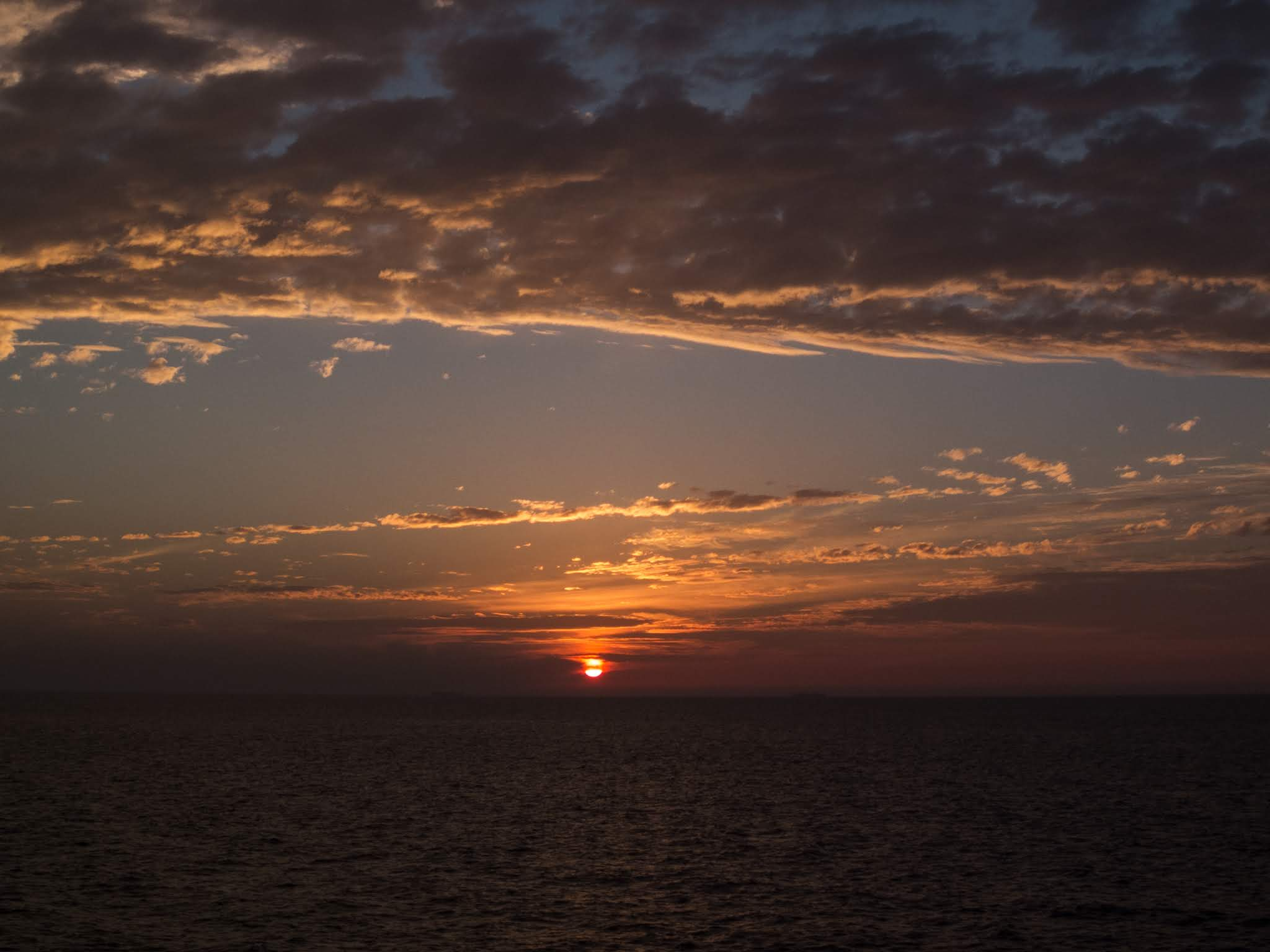 Sunset cloud landscape of the Atlantic Ocean off the coast of Portugal.