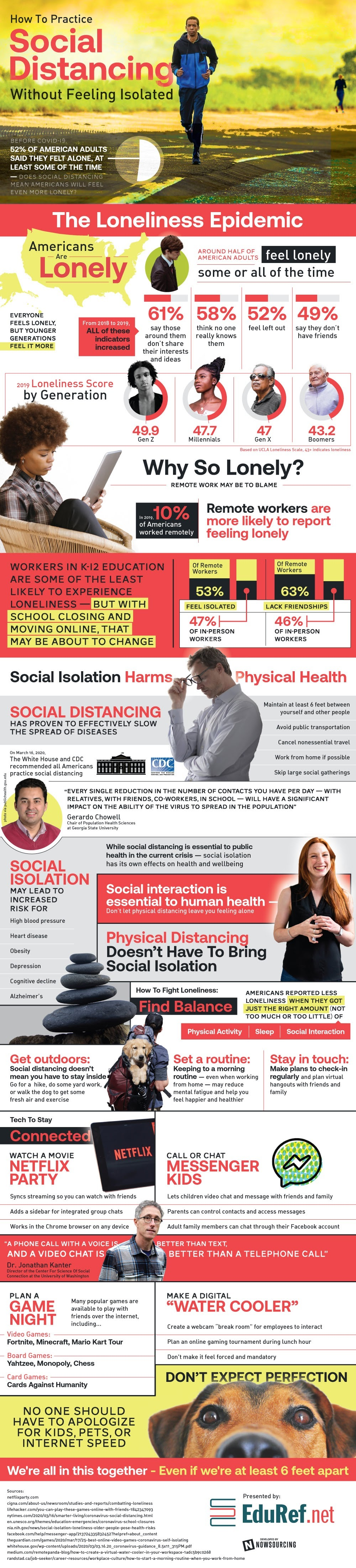 Social Distancing Without Feeling Isolated #infographic