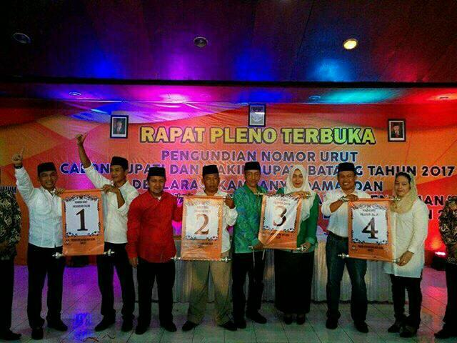 Nomor Urut Pasangan Calon Bupati dan Wakil Bupati di Pilkada Batang 2017