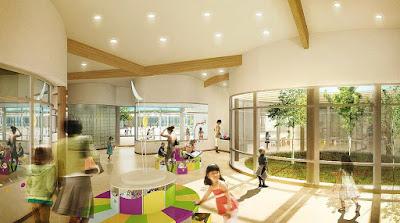 Perspective 3d groupe scolaire intérieur et patio