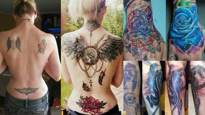 foto de varios tatuajes cubiertos con otros