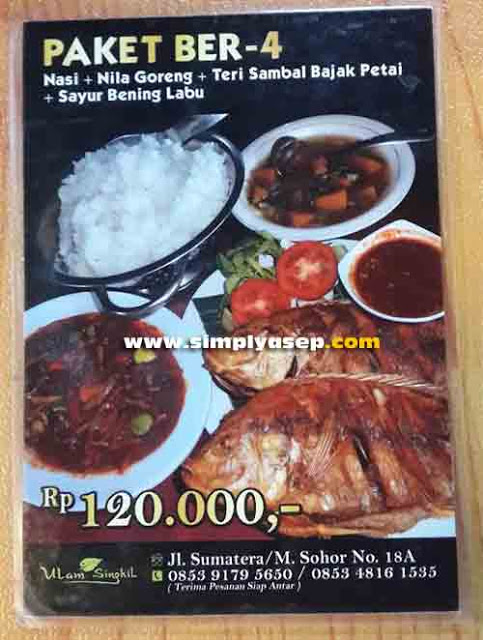 PACKAGE 4: This is a package of 4 packages at Ulam Singkil Restaurant that we ordered. The portion is just right to eat with 4 and the price is relatively affordable. Photo of Asep Haryono
