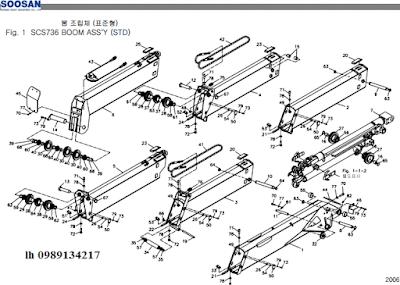 Đốt cần và xy lanh ra vào cần của cẩu soosan 6 tấn SCS615-SCS736-SCS736LII