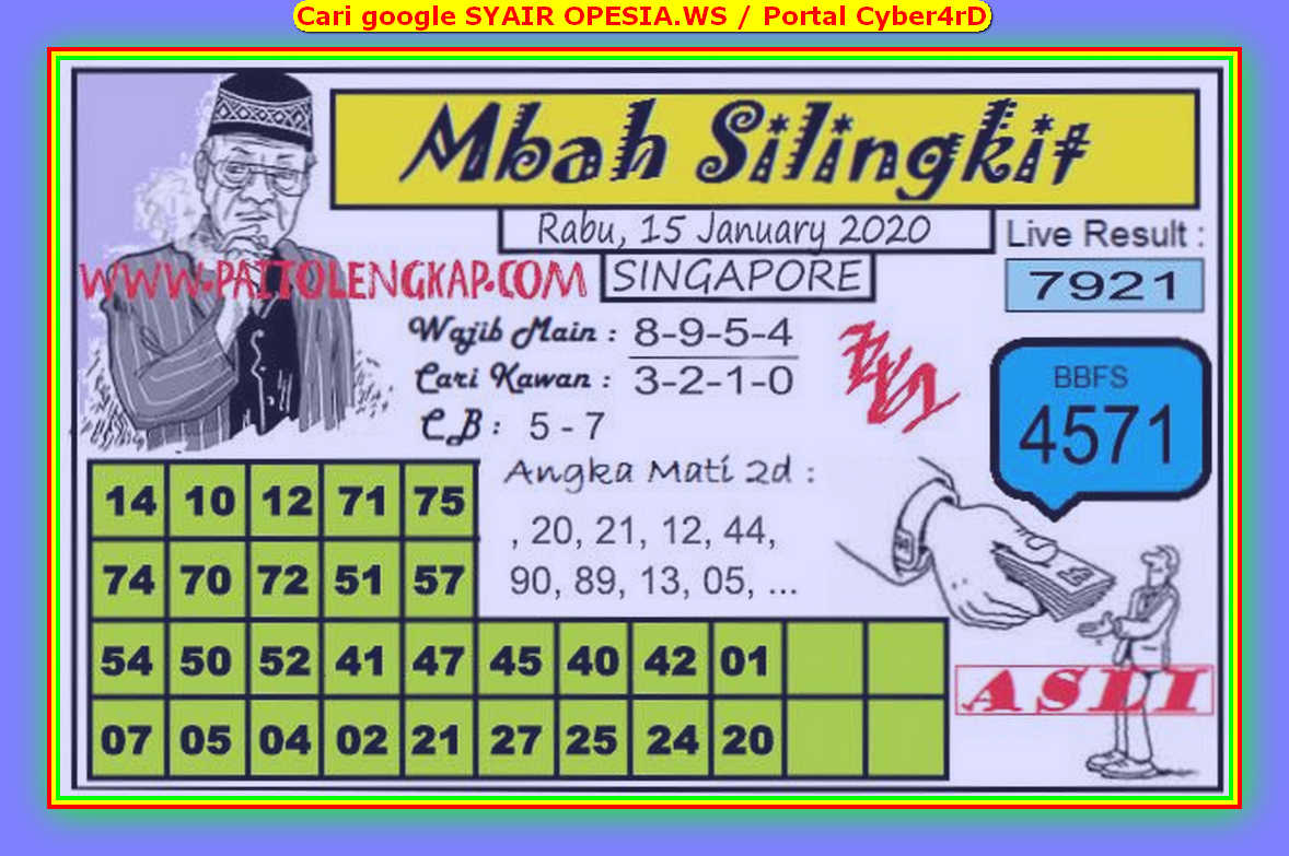 Kode syair Singapore Rabu 15 Januari 2020 164