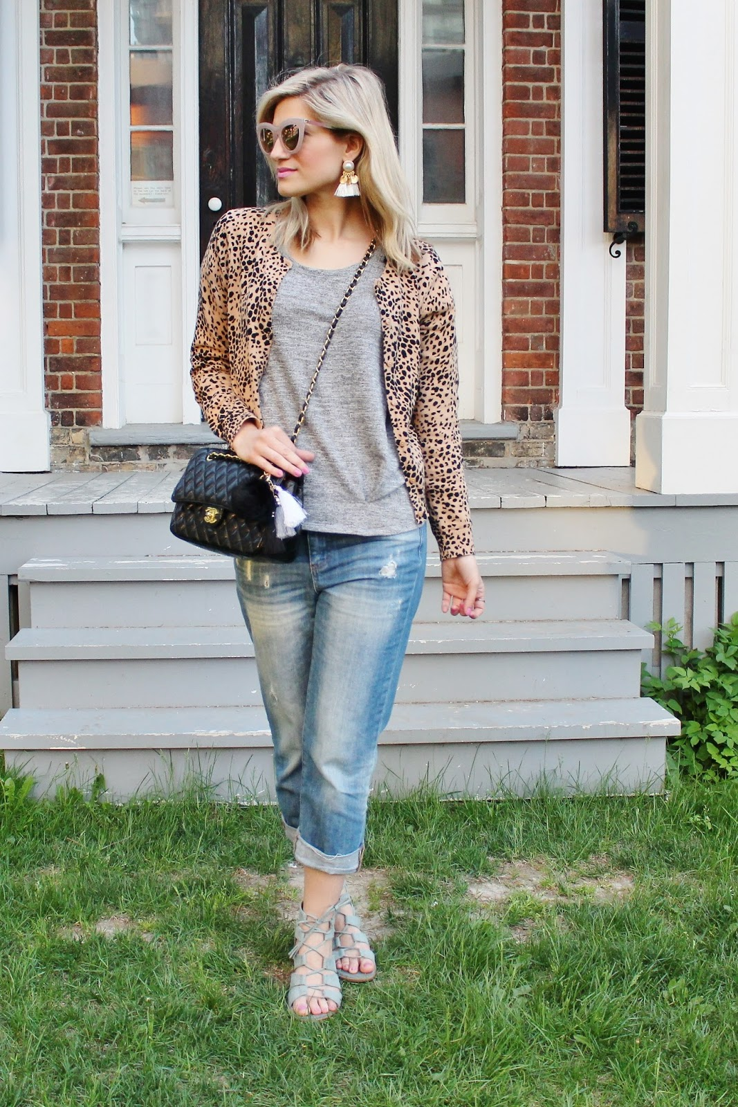 Bijuleni - Leopard cardi, boyfriend jeans and vintage Chanel