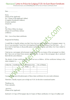 Letter to Police for Lodging an F.I.R. for Lost Share Certificates