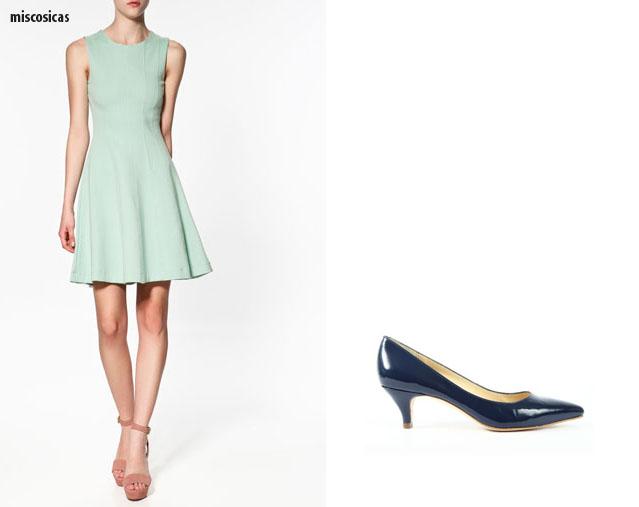 Vestido azul aguamarina con zapatos