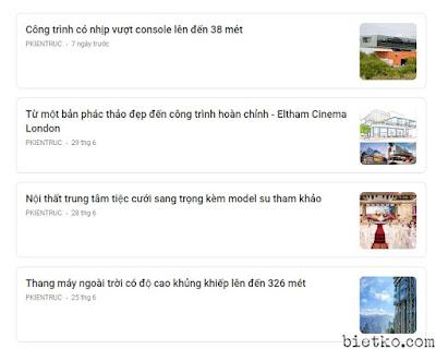 Bảng tin google news của trang pkientruc đã đăng ký