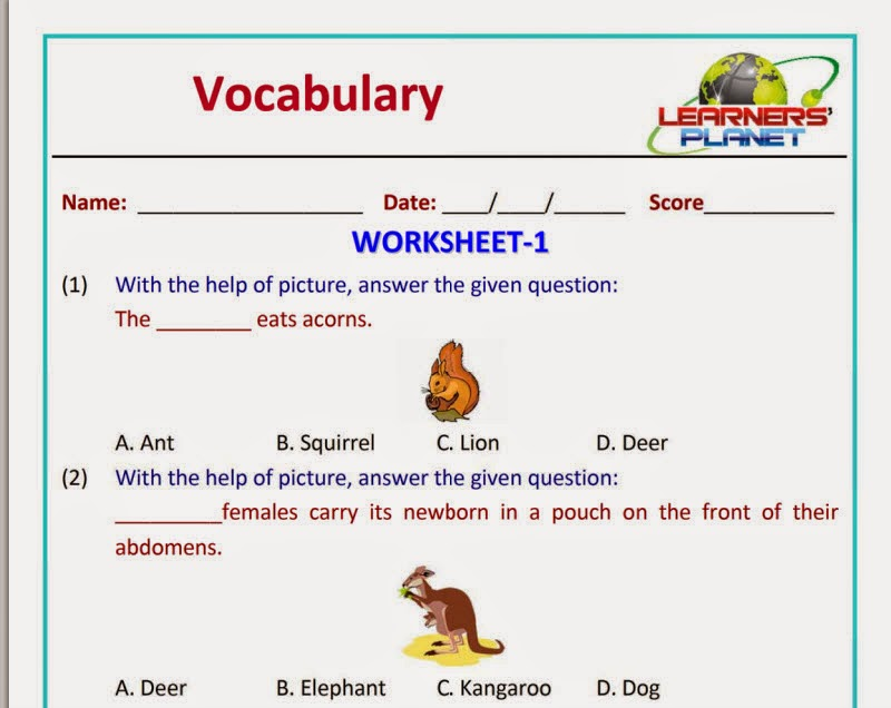Olympiad-English-Vocabulary-worksheet grade 1 ~ Learners Planet