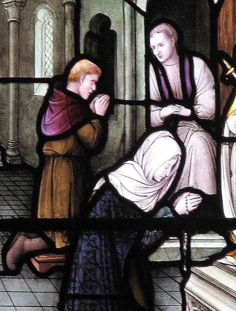 O sacramento da Penitência, vitral na igreja de Nossa Senhora dos Mártires Ingleses, Cambridge, Inglaterra.