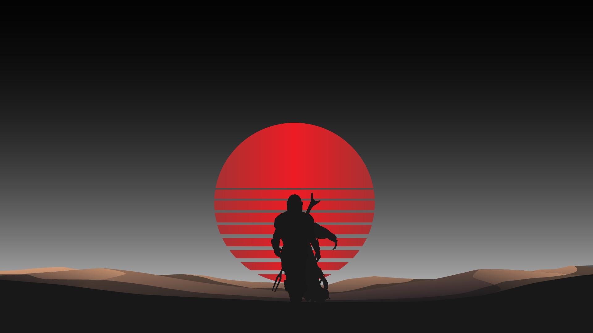 the mandalorian synth wave style sun wallpaper 4k for laptop macbook mac chromebook