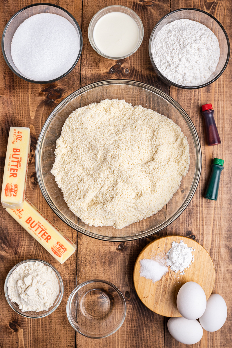 Overhead photo of the ingredients to make Keto Sugar Cookie Bars on a wooden table.
