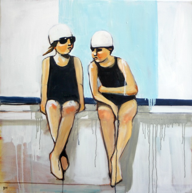 painting of swimmers, figurative art