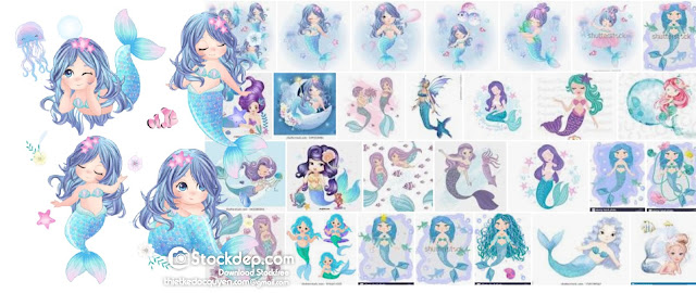 Cartoon, cute little mermaid, sea princess, siren, with blue hair, open eyes and a forked tail free stock